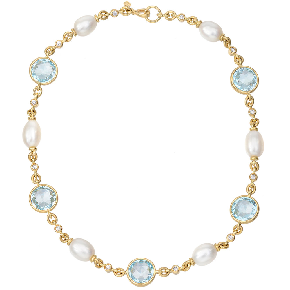 Blue Topaz And Pearl Necklace: Bielka Blue Topaz, Pearl & Diamond Necklace