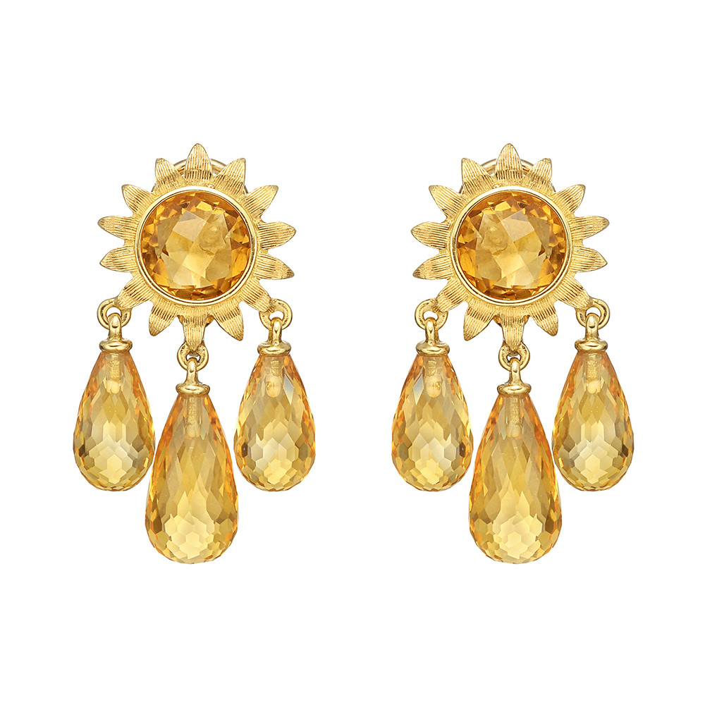 Estate bielka gold citrine sunflower chandelier earrings betteridge citrine chandelier earrings designed with a gold sunflower motif centering a circular shaped faceted citrine the sunflower suspending three faceted mozeypictures Gallery