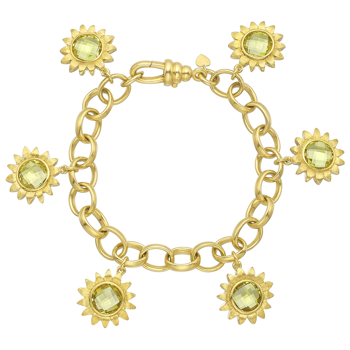 18k Yellow Gold & Peridot Sunflower Charm Bracelet
