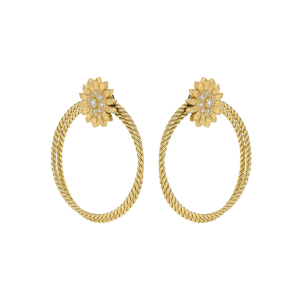 18k Yellow Gold Twisted Wire Hoop Sunflower Earclips