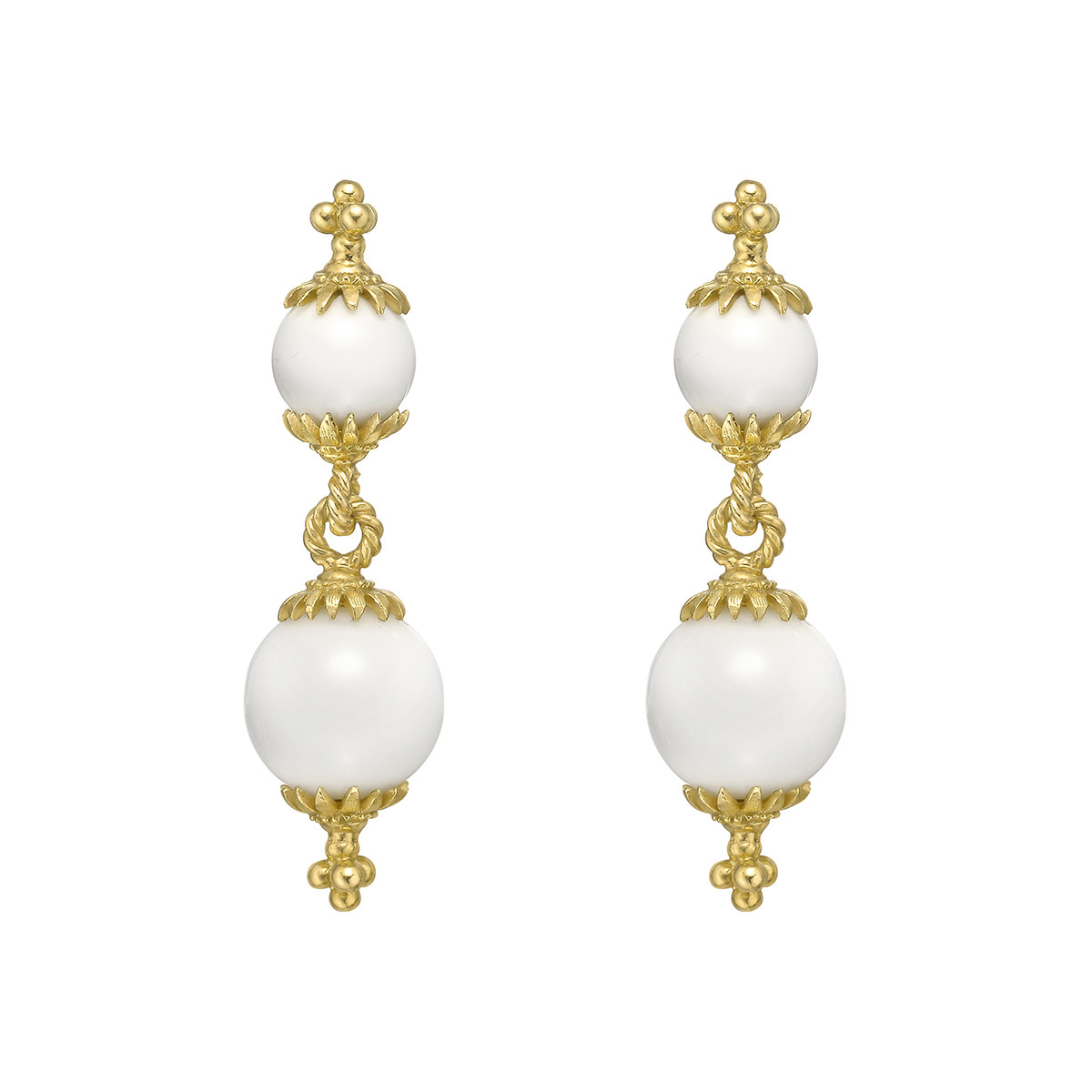 18k Yellow Gold & White Coral Double Drop Earrings