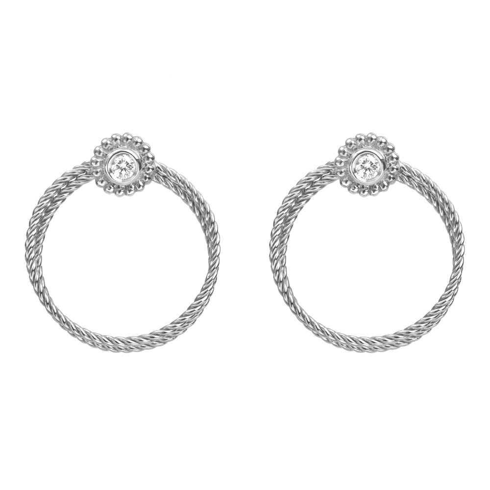 18k White Gold & Diamond Twisted Wire Hoop Earclips
