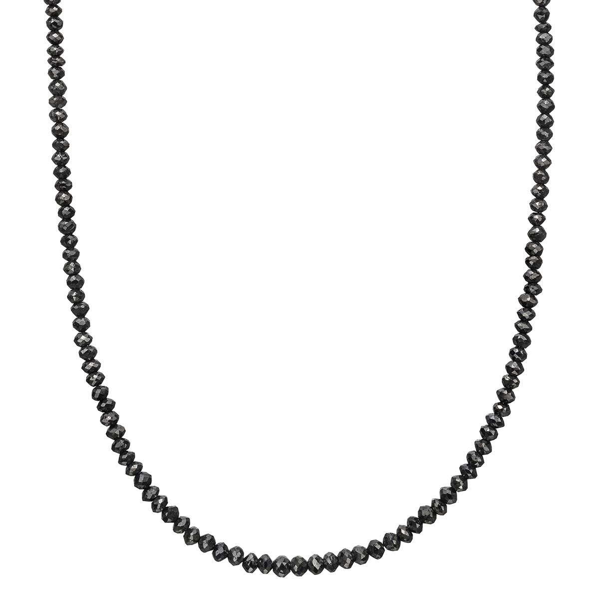 Black Diamond Bead Chain Necklace (~25 ct tw)
