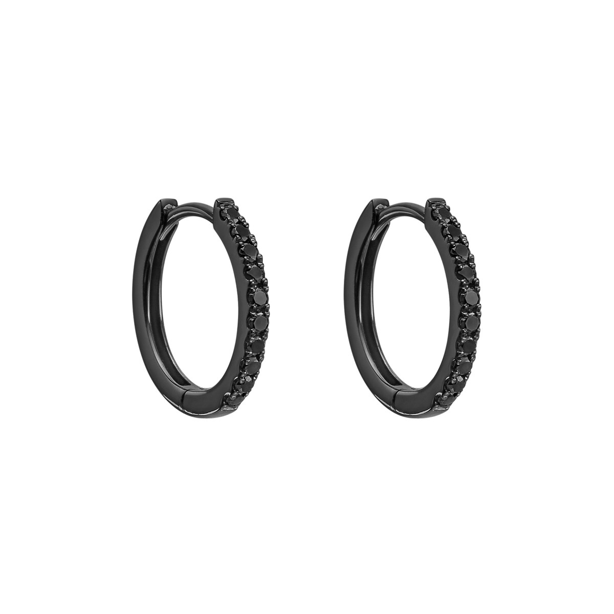 Small Black Diamond Hoop Earrings (~0.2 ct tw)
