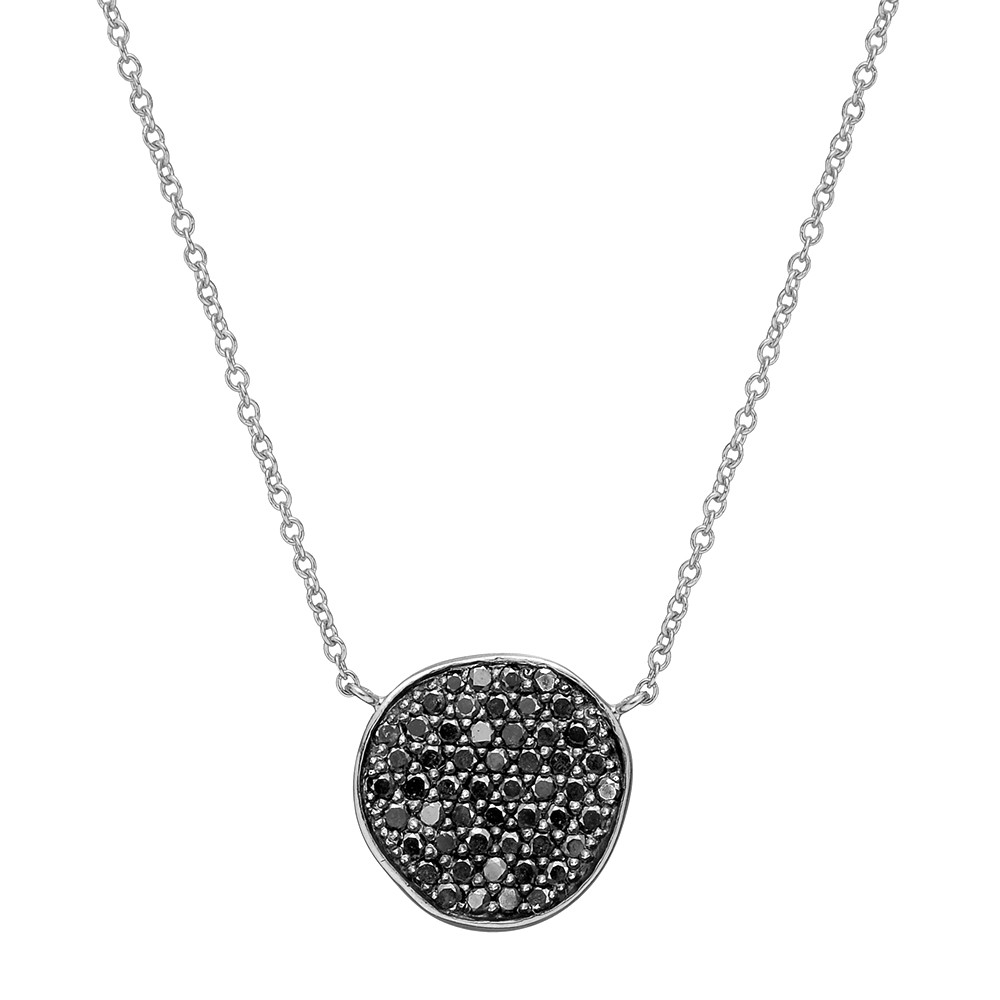 18k White Gold & Black Diamond Disc Pendant