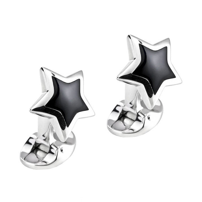 Silver & Black Onyx Star Cufflinks