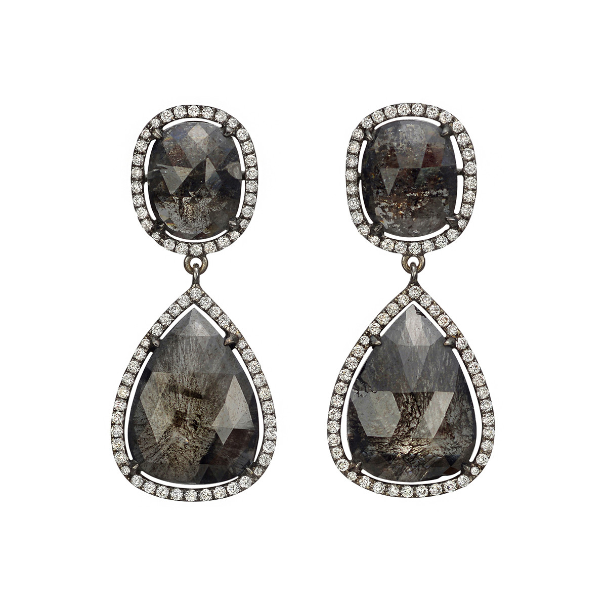 Black Sapphire & Diamond Drop Earrings