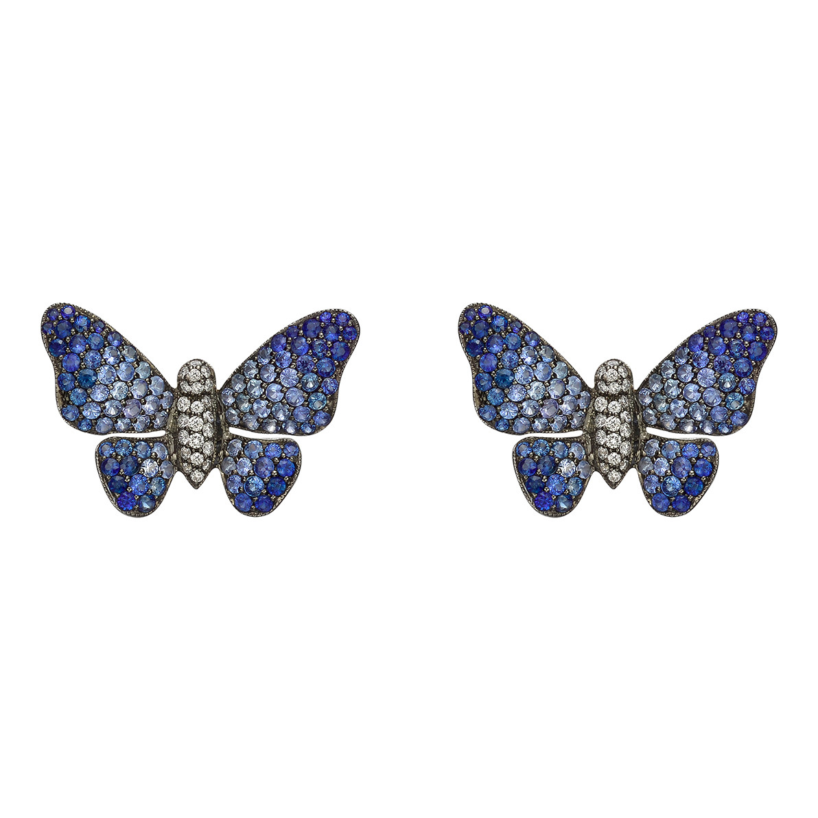 Medium Blue Sapphire & Diamond Butterfly Earrings