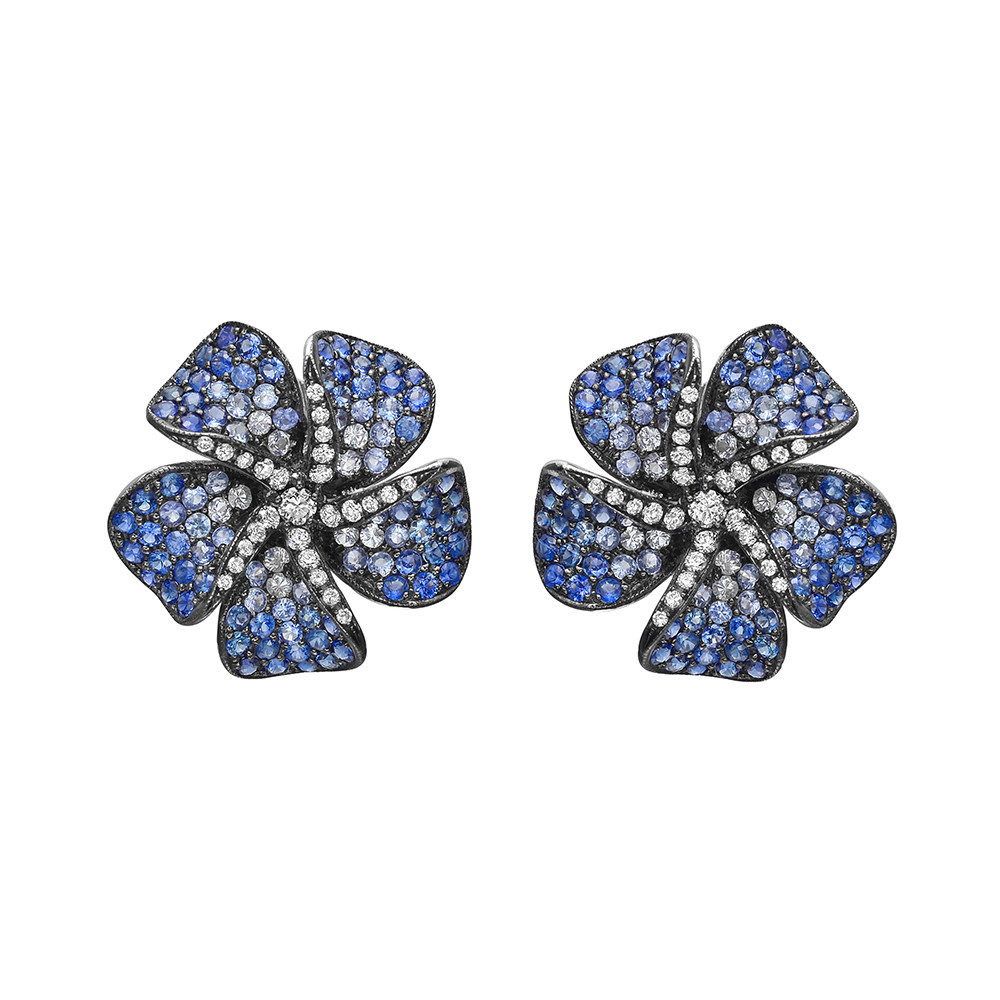 Blue Sapphire & Diamond Flower Earrings
