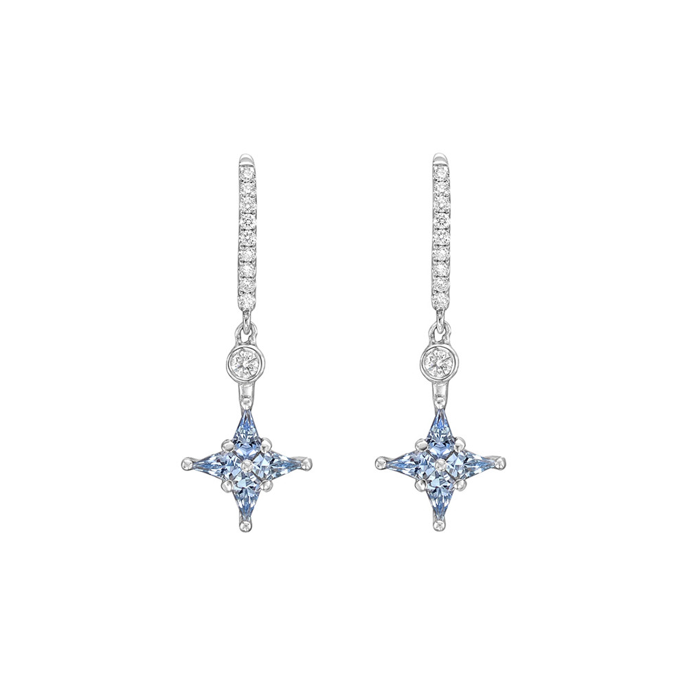 Blue Sapphire & Diamond Star Drop Earrings