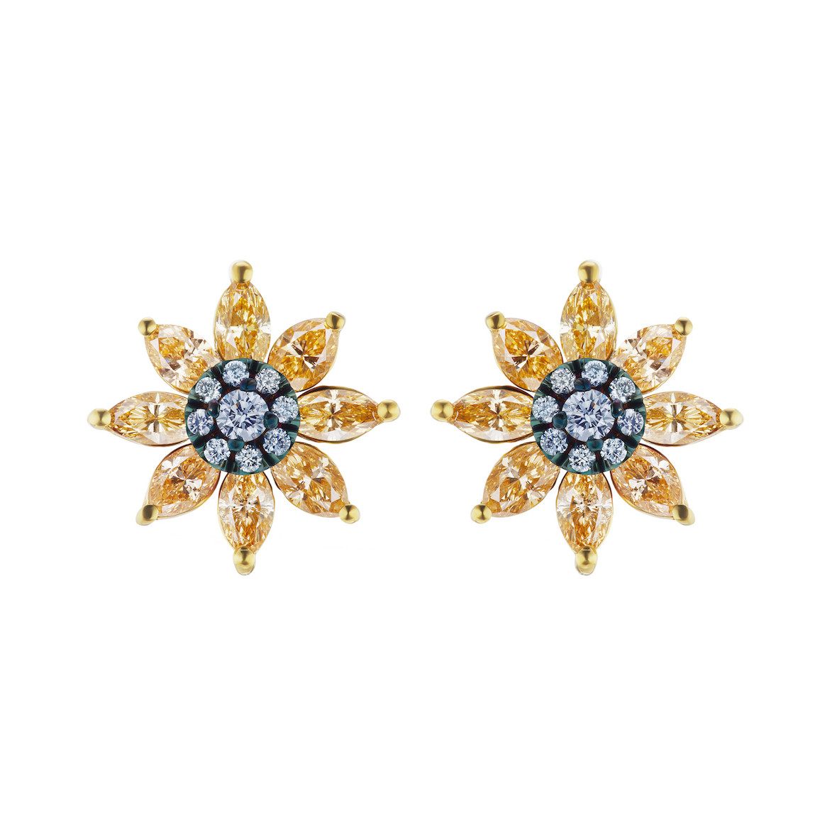 Blue & Yellow Diamond Flower Stud Earrings