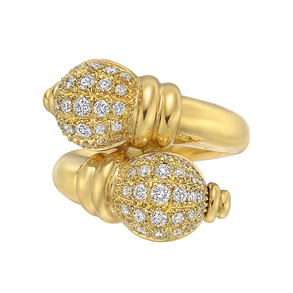 18k Yellow Gold & Diamond Double Finial Ring