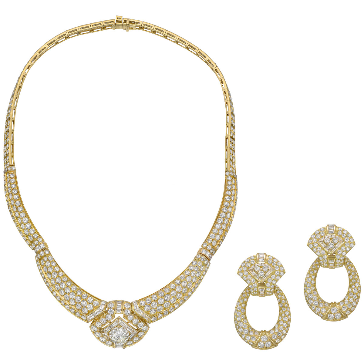 Diamond Necklace & Earrings Set