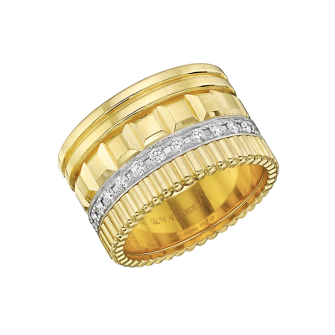 "18k Yellow Gold & Diamond ""Quatre"" Band Ring"