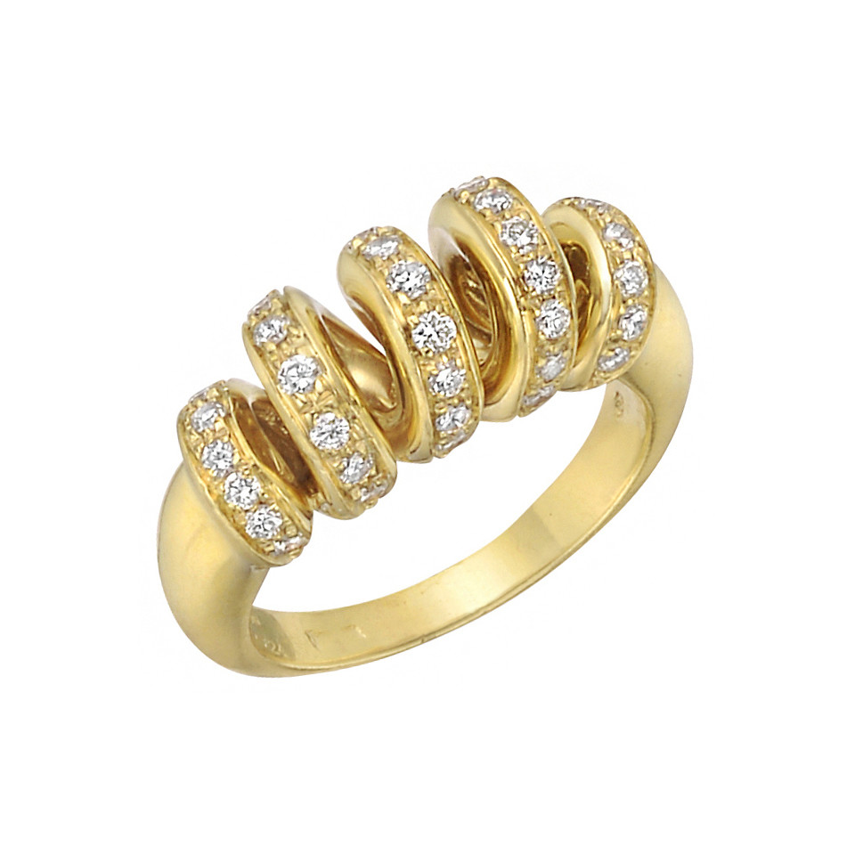 18k Yellow Gold & Diamond Coil Ring