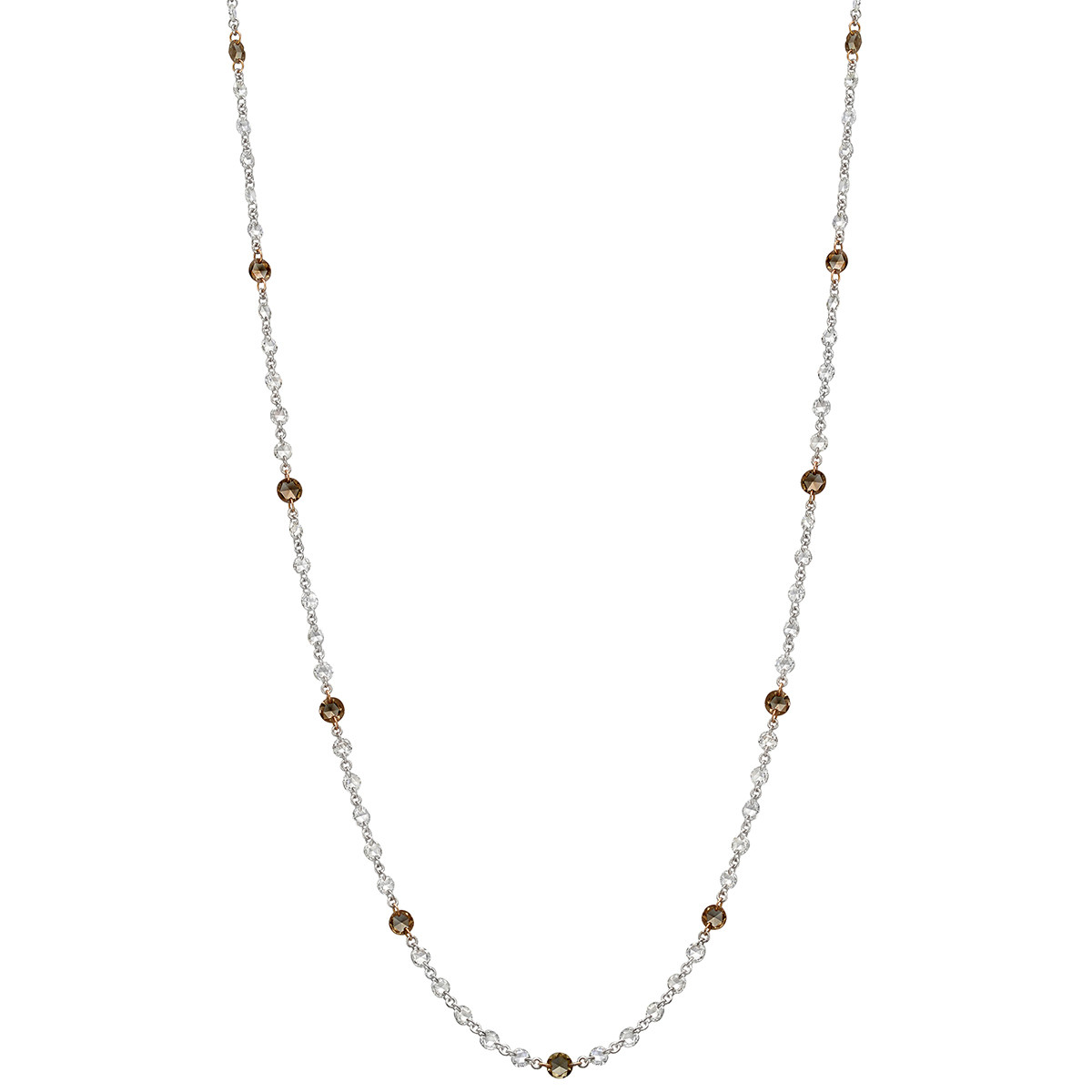 White & Brown Diamond Chain Necklace