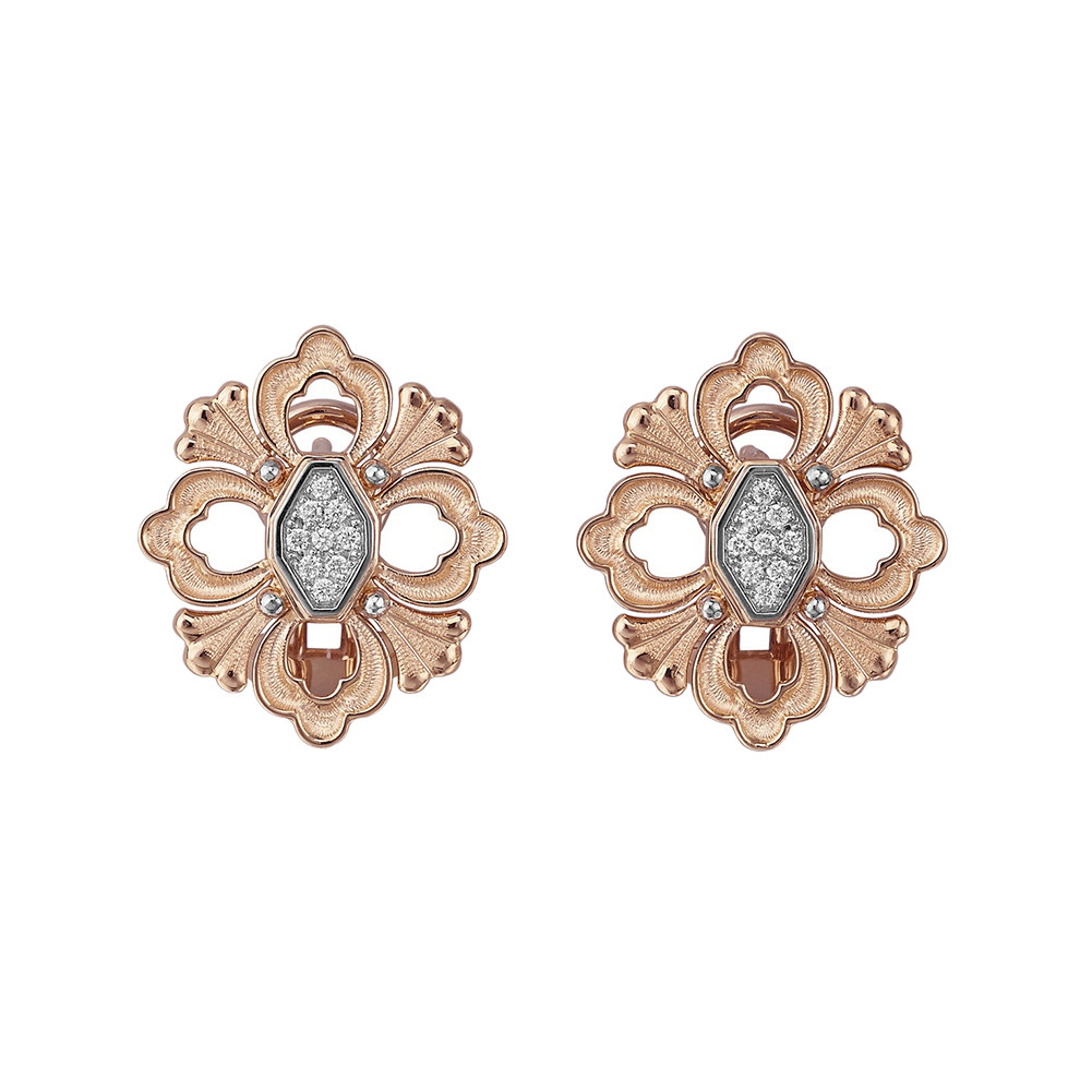 "18k Rose Gold & Diamond ""Opera"" Button Earrings"