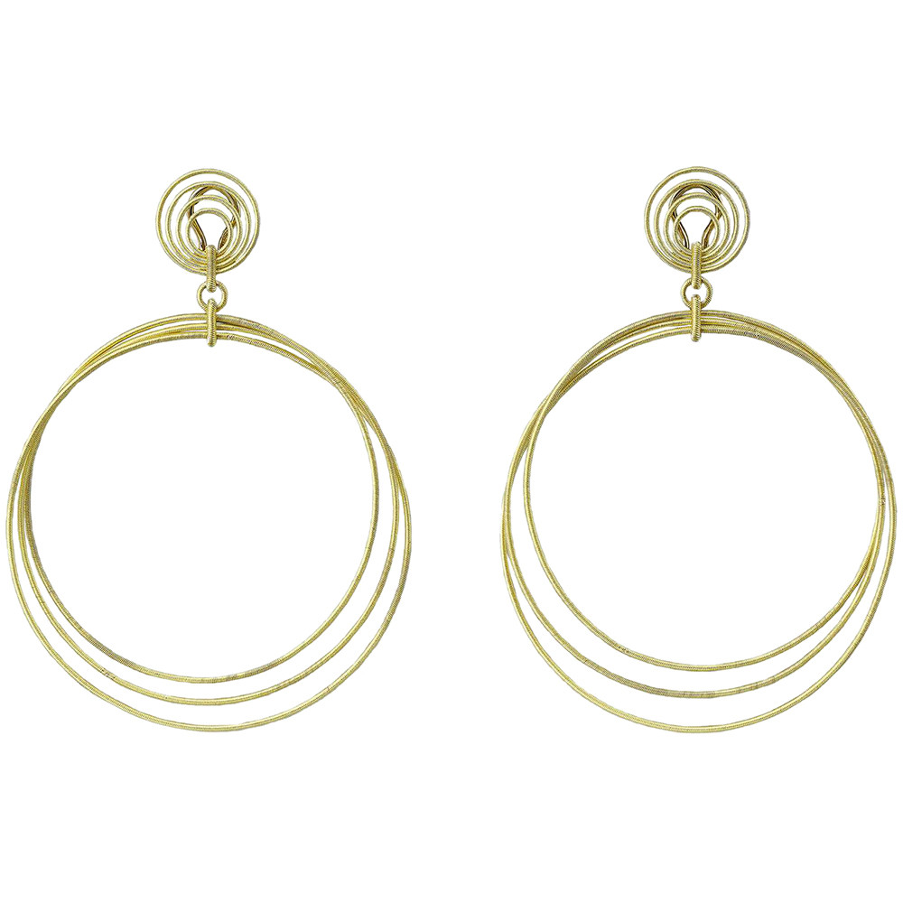 "18k Yellow Gold ""Hawaii Waikiki"" Large Hoop Pendant Earrings"