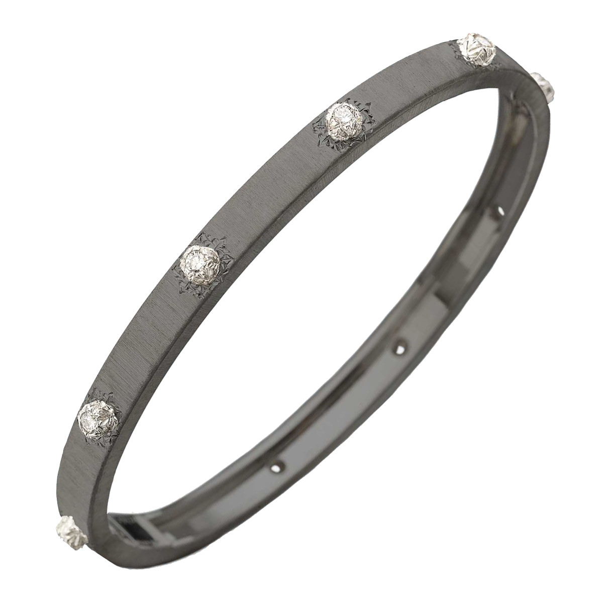 "18k Black Gold & Diamond ""Macri"" Bangle Bracelet"
