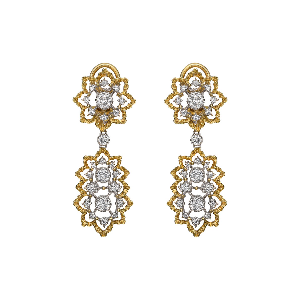 "18k Gold & Diamond ""Cinesina"" Drop Earrings"