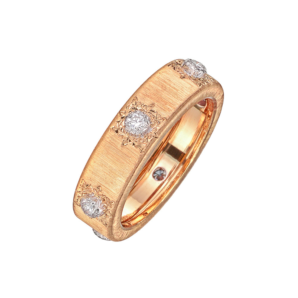 "18k Pink Gold & Diamond ""Macri Classica"" Band Ring"