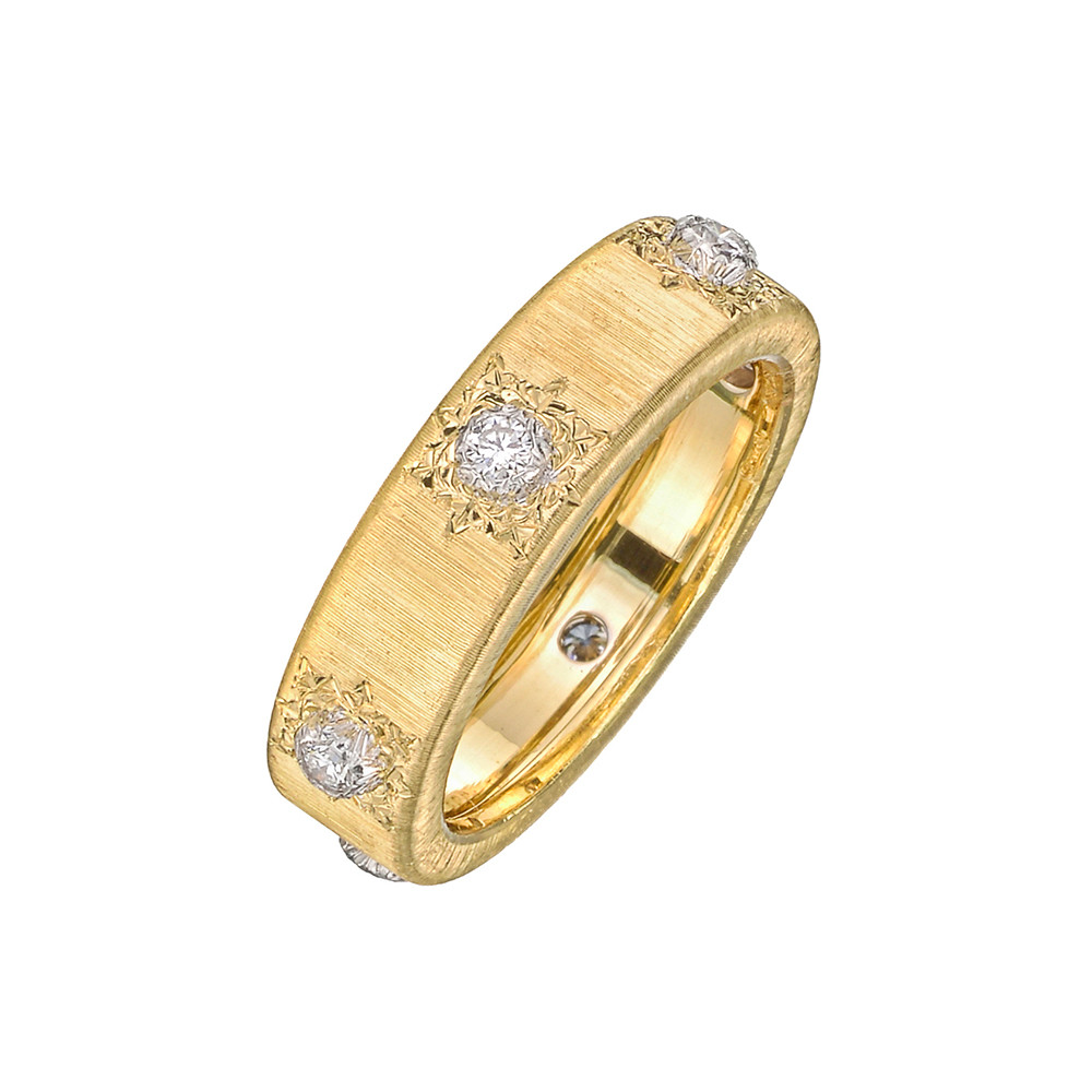 "18k Yellow Gold & Diamond ""Macri Classica"" Band Ring"