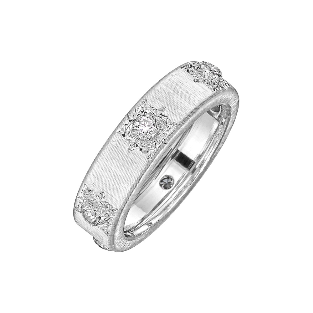 "18k White Gold & Diamond ""Macri Classica"" Band Ring"