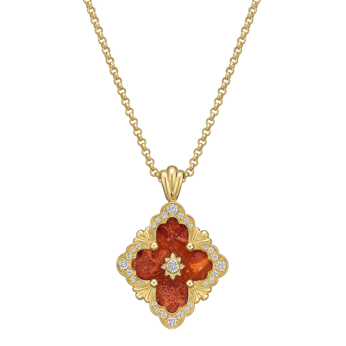 "18k Yellow Gold, Coral & Diamond ""Opera"" Pendant"