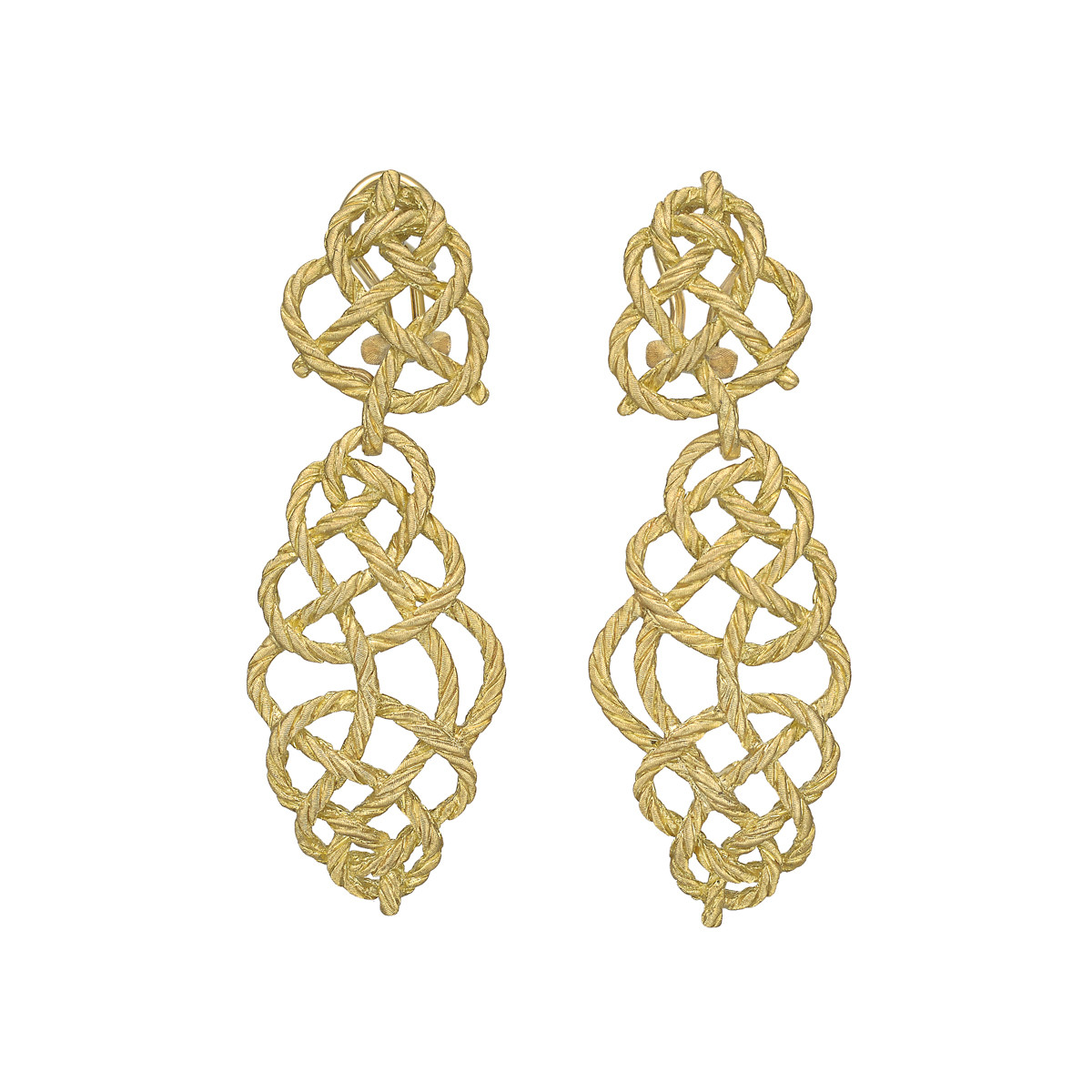 "18k Yellow Gold ""Crepe de Chine"" Pendant Earrings"