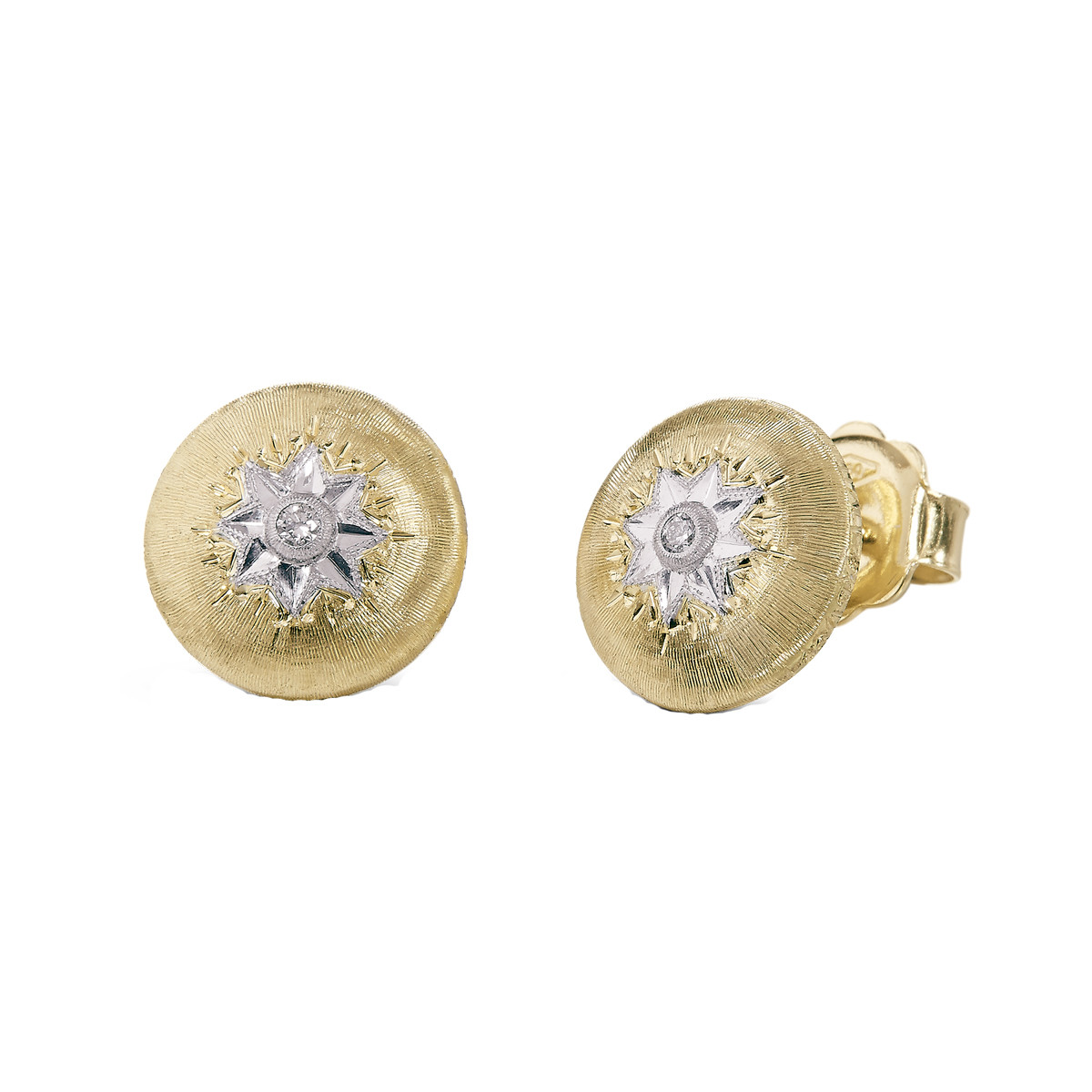 "18k Yellow Gold & Diamond ""Macri"" Stud Earrings"