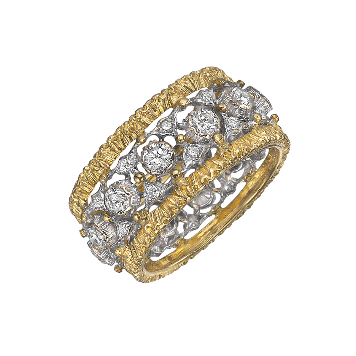 18k Gold & Diamond Openwork Band Ring