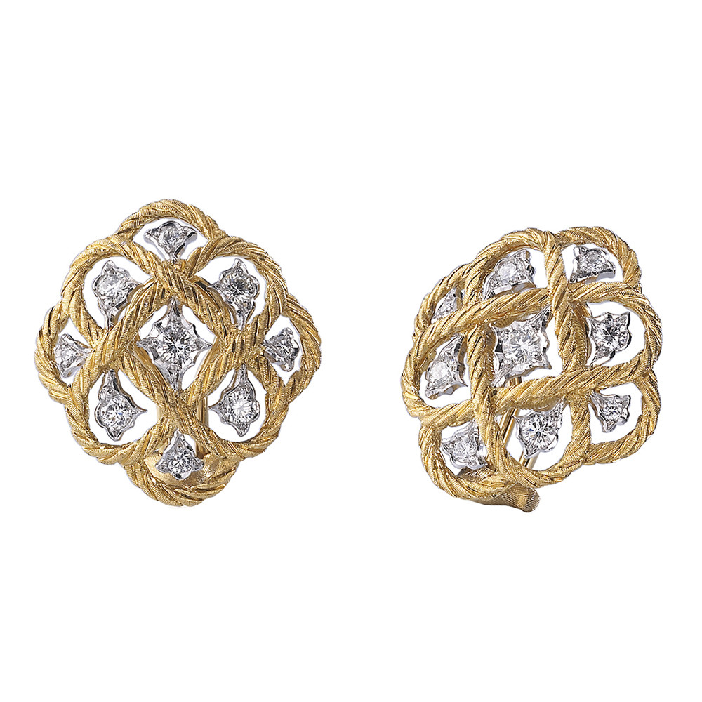 "18k Gold & Diamond ""Etoilee"" Button Earrings"