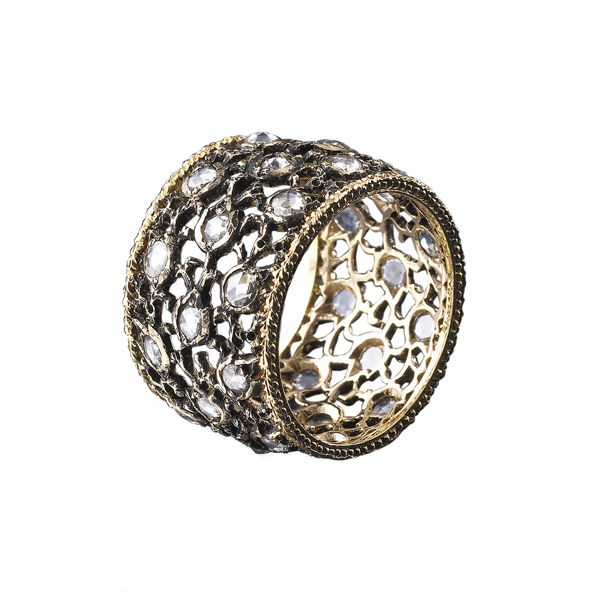 "18k Gold & Rose-Cut Diamond ""Campanelli"" Ring"