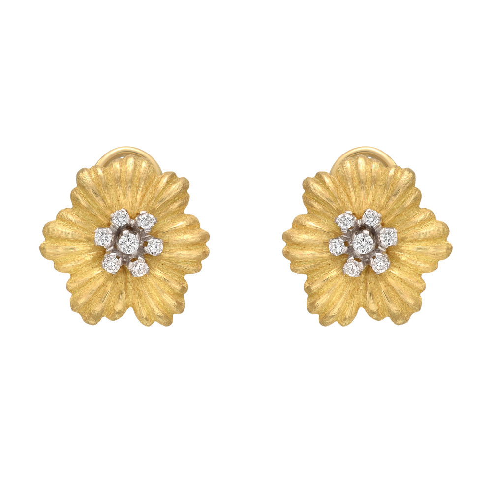 "18k Gold & Diamond ""Fleur de Fleur"" Earrings"