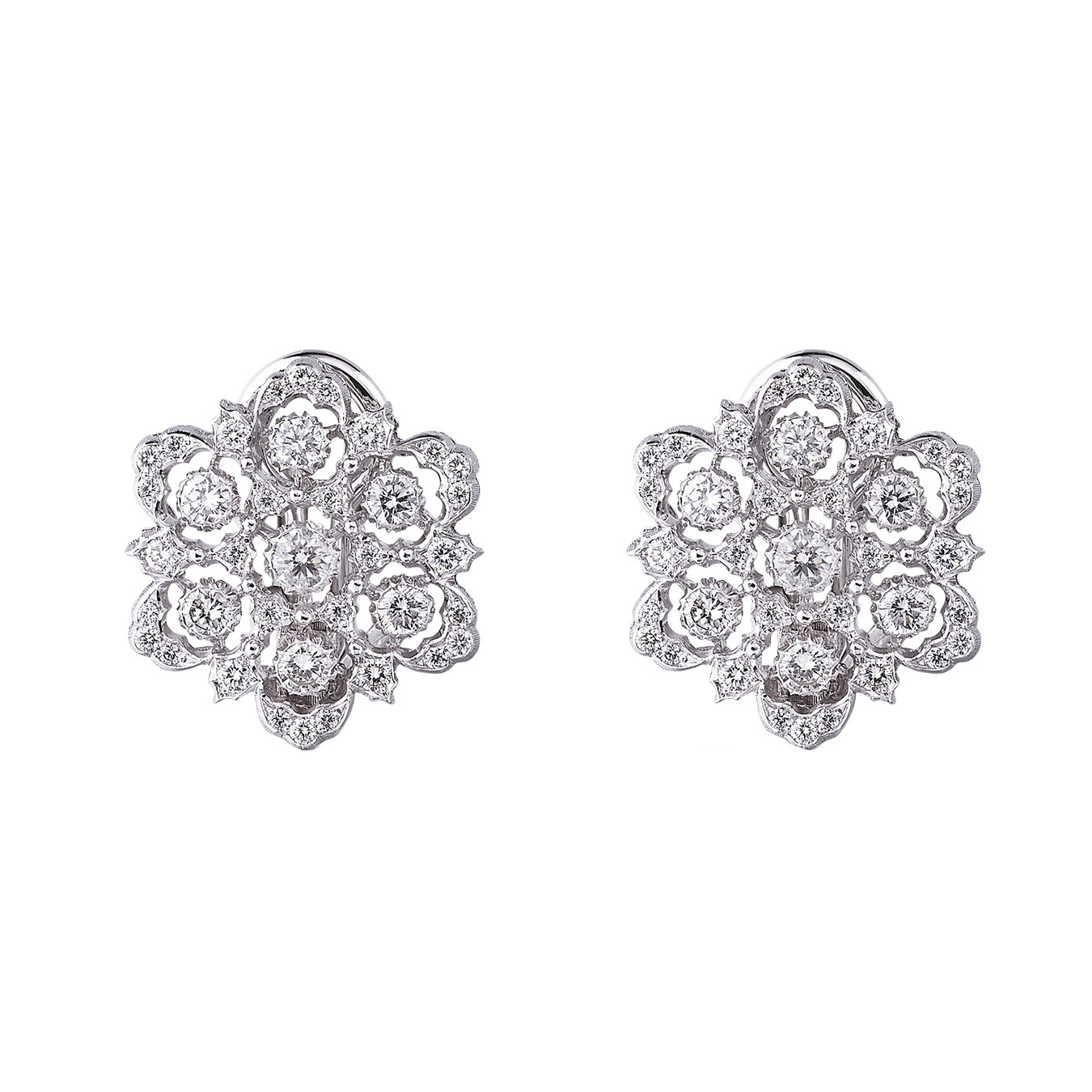 "18k White Gold & Diamond ""Ghirlanda"" Button Earrings"