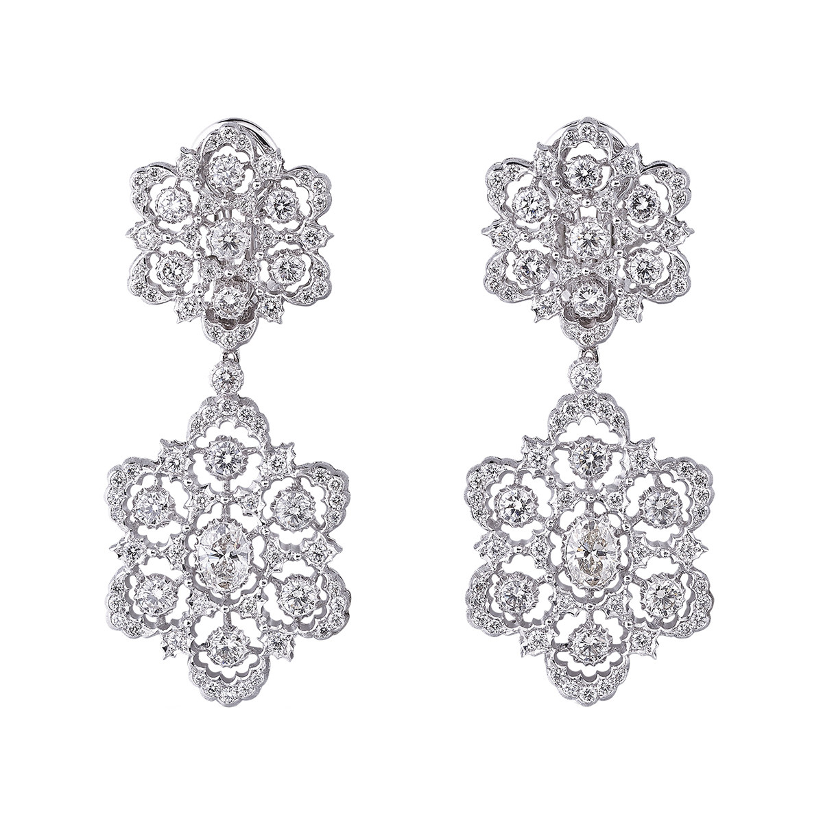 "18k White Gold & Diamond ""Ghirlanda"" Pendant Earrings"