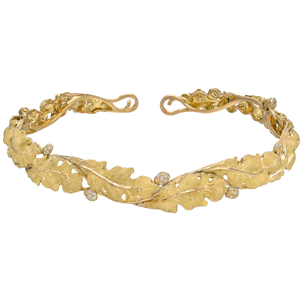 18k Yellow Gold & Diamond Leaf Choker Necklace