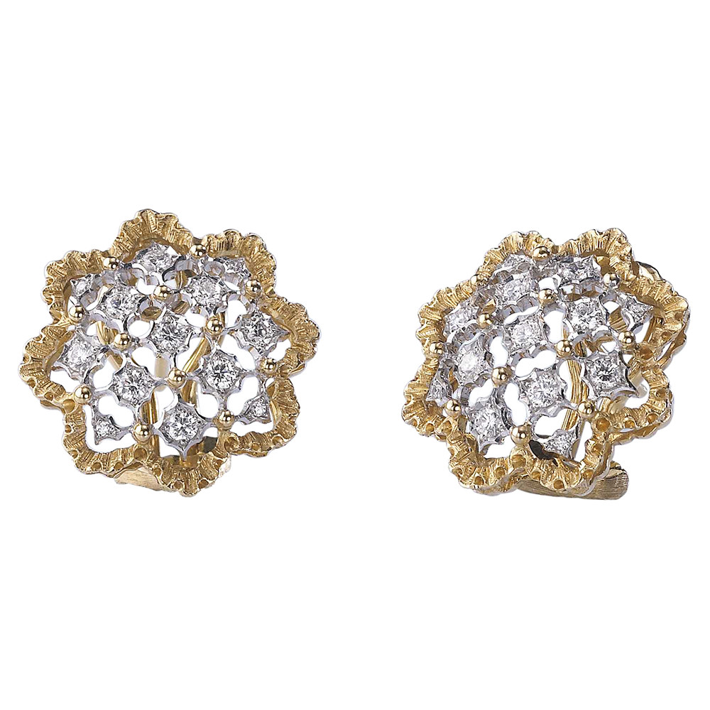 "18k Gold & Diamond ""Rombi"" Button Earrings"