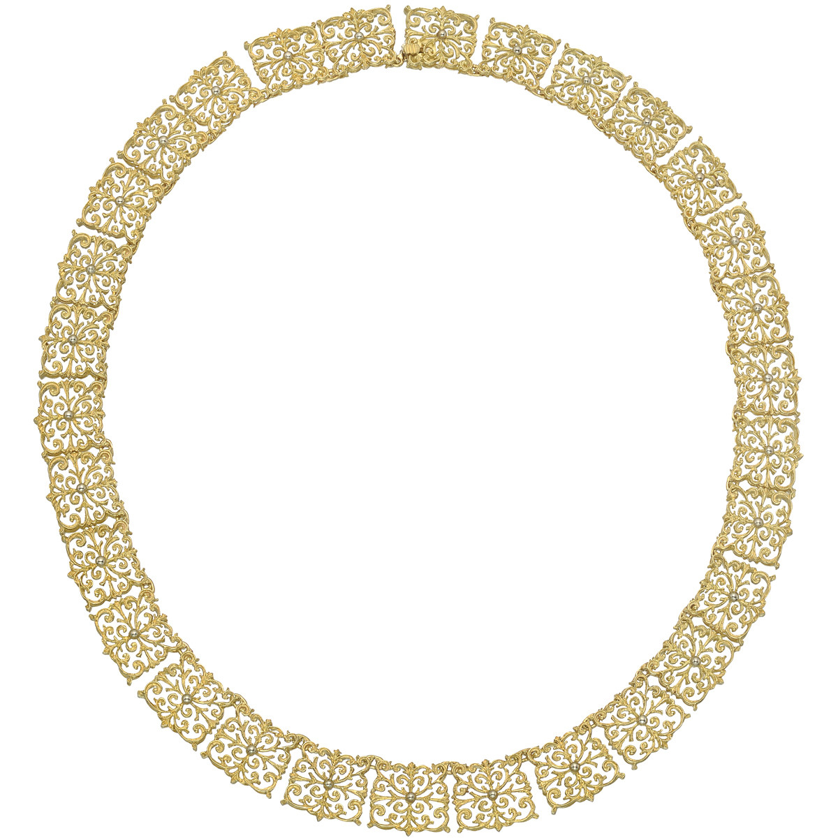 18k Yellow Gold Filigree Link Necklace