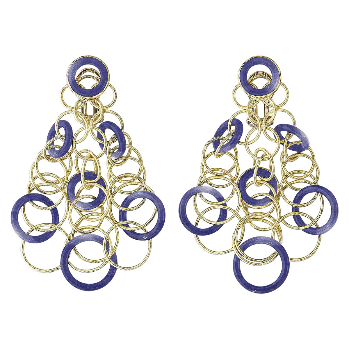 "18k Yellow Gold & Lapis ""Hawaii"" Chandelier Earrings"