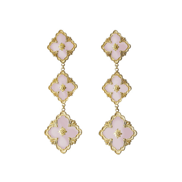 "18k Yellow Gold & Pink Opal ""Opera"" Pendant Earrings"