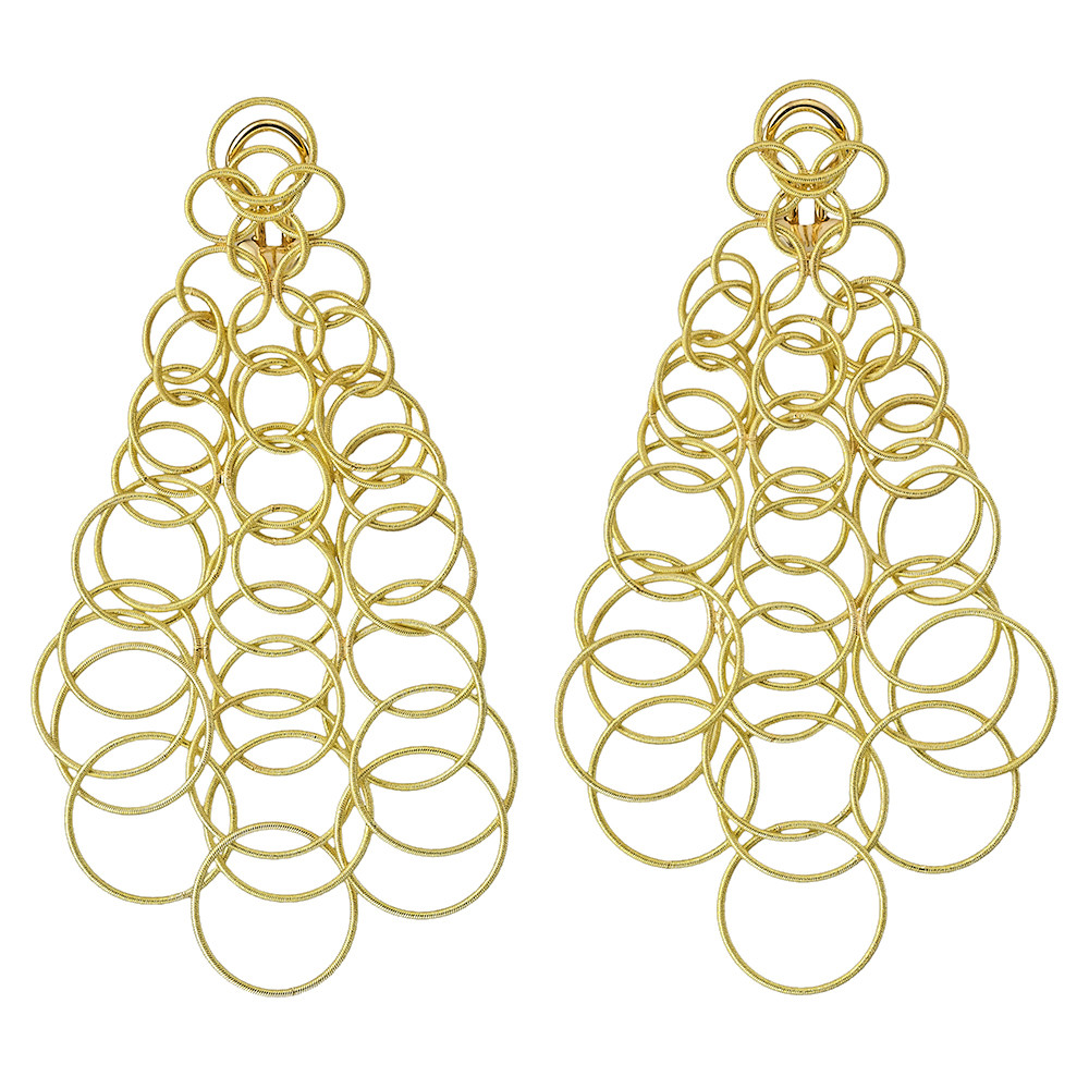 "Large 18k Yellow Gold ""Hawaii"" Chandelier Earrings"