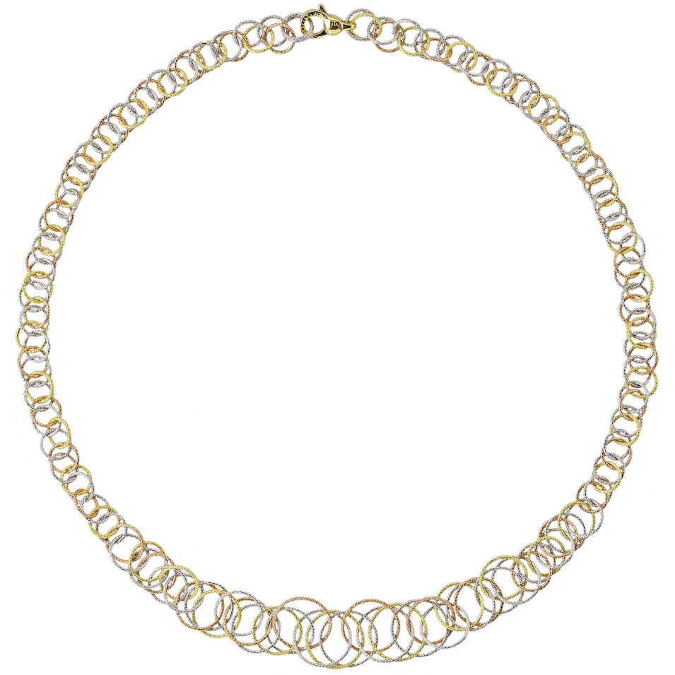 "18k Tricolored Gold ""Honolulu"" Link Necklace"