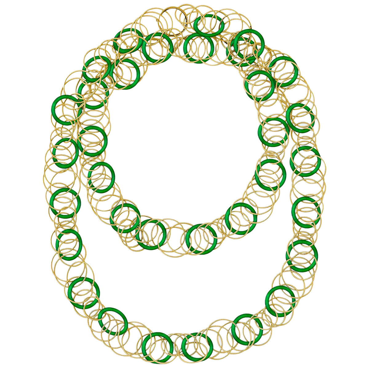 "18k Yellow Gold & Jade ""Hawaii"" Long Necklace"