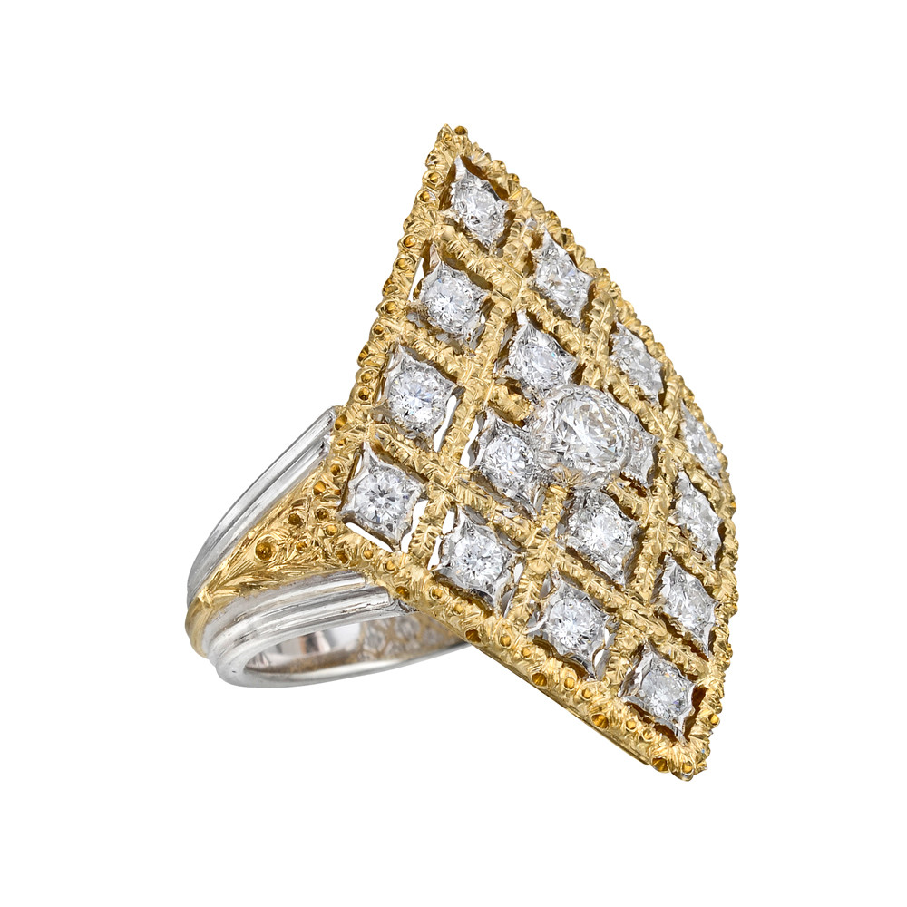 18k Gold & Diamond Kite-Shaped Cocktail Ring