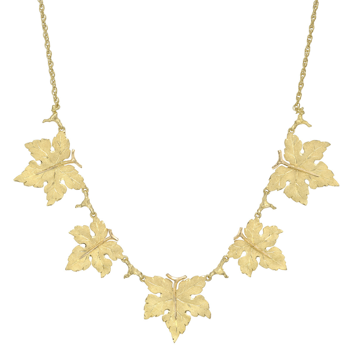 18k Yellow Gold 5-Leaf Collar Necklace