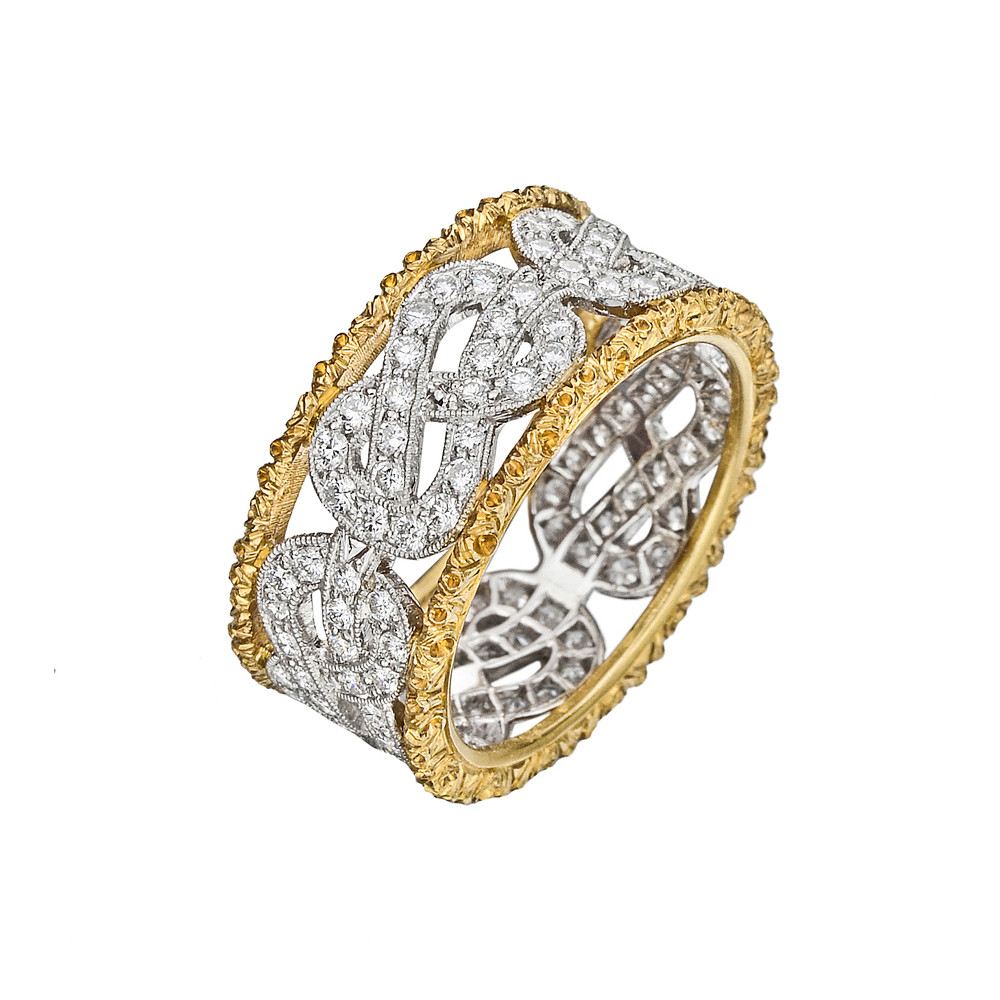 "18k Gold & Diamond ""Love Knot"" Band Ring"