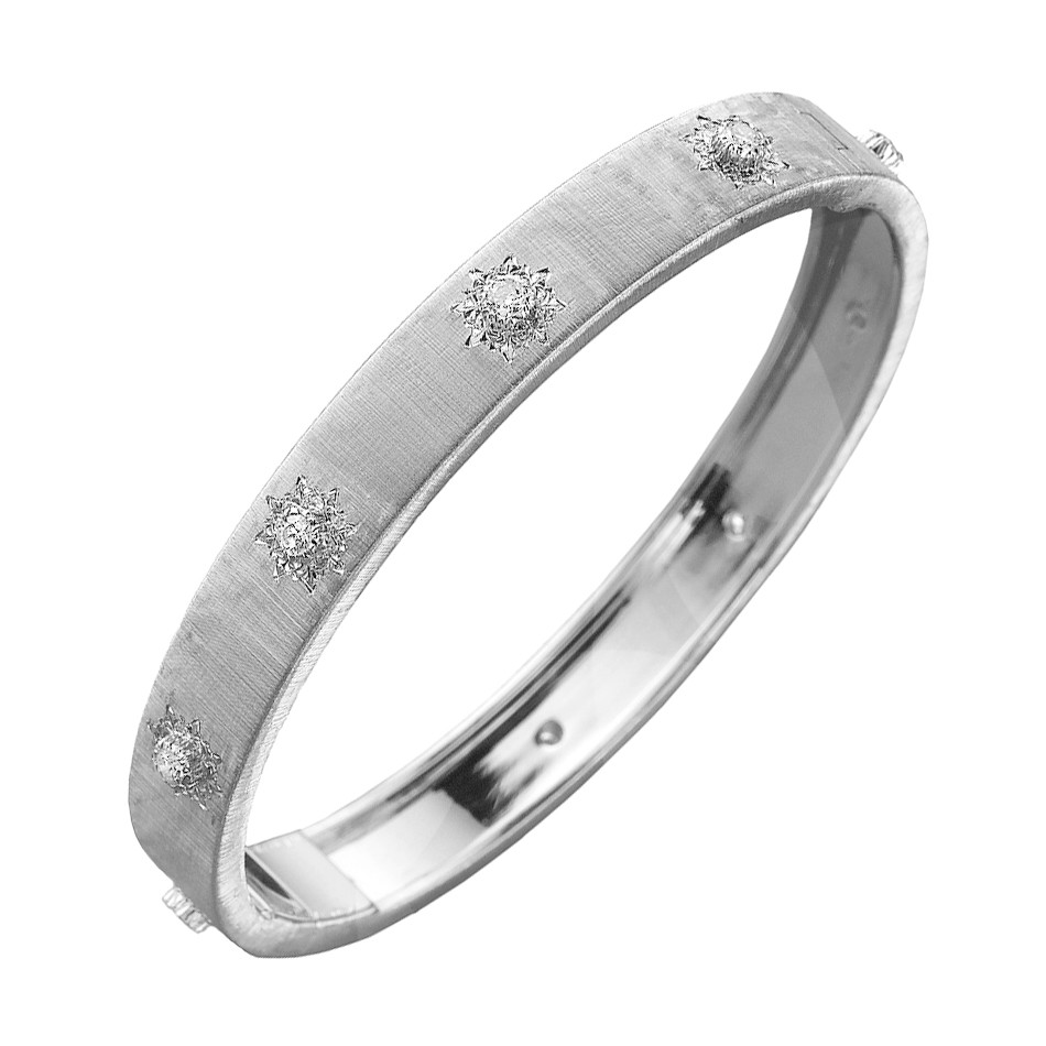 "Wide 18k White Gold & Diamond ""Macri"" Bangle"