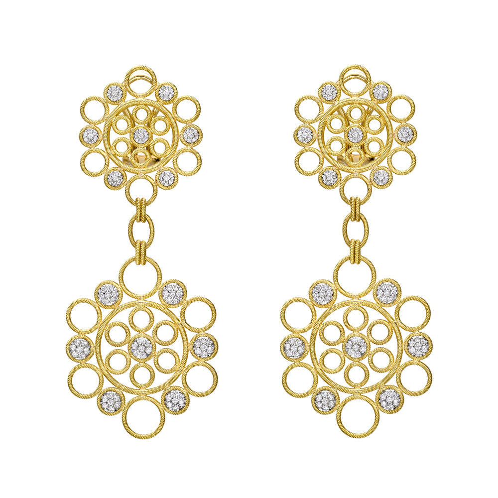 "18k Gold & Diamond ""Maria"" Pendant Earrings"