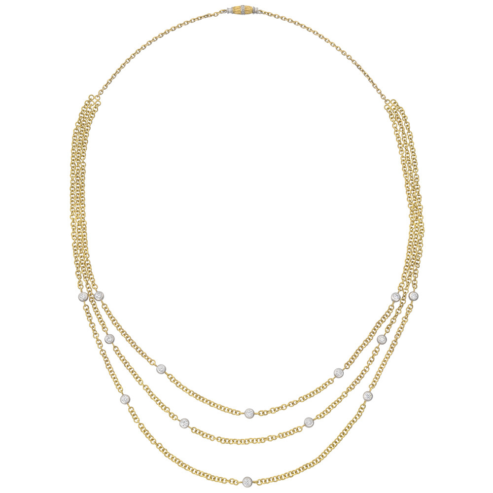 18k Gold & Diamond 3-Chain Necklace